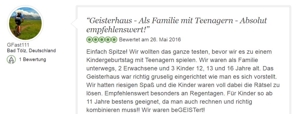 Tripadvisor Bewertung Escape Game Geisterhaus: Das erwartet dich!