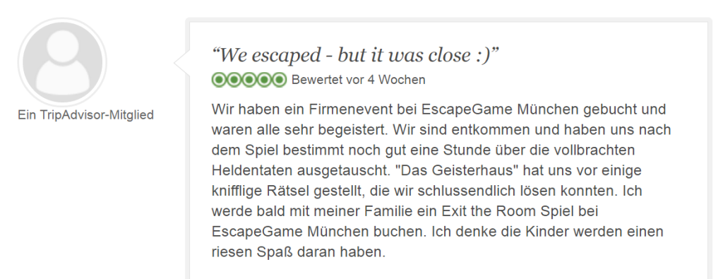 Tripadvisor Bewertung Escape Game Geisterhaus: Gerade so entkommen
