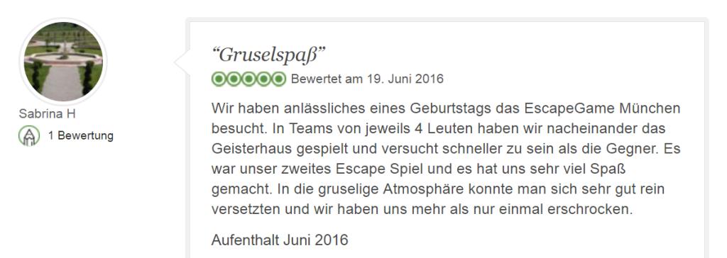 Tripadvisor Bewertung Escape Game Geisterhaus: Grusel-Spaß