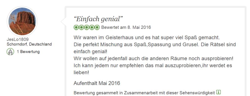 Tripadvisor Bewertung Escape Game Geisterhaus: Spaß und Grusel