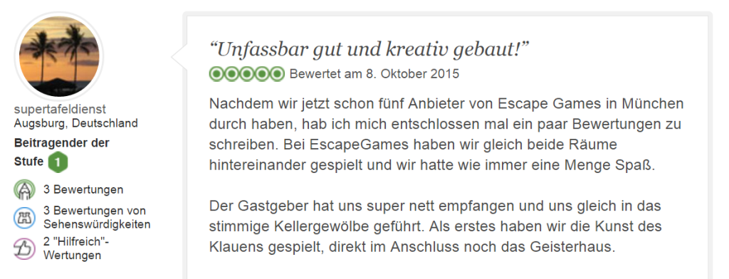 Tripadvisor Bewertung Escape Game Kunst des Klauens 5