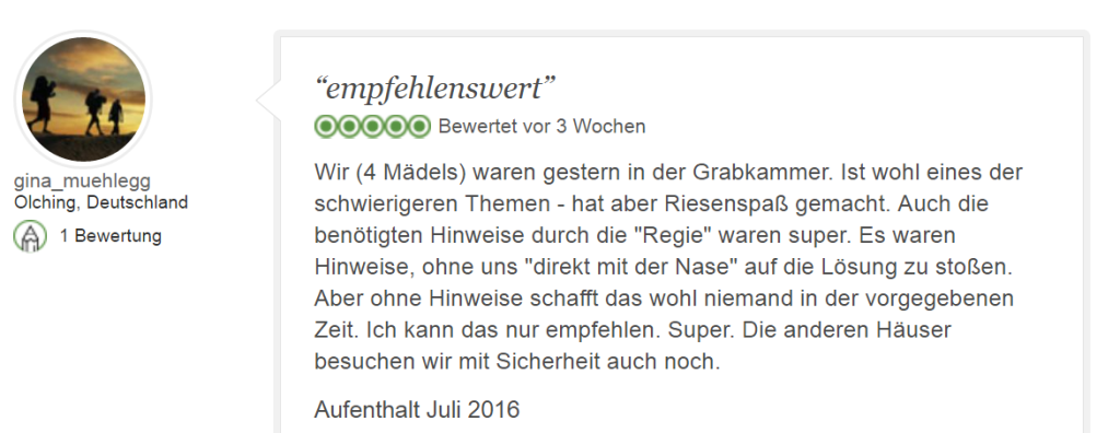 Tripadvisor Bewertung Escape Game Tutanchamun: Empfehlenswert
