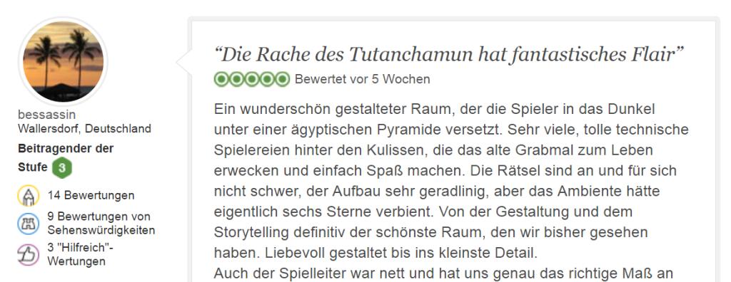 Tripadvisor Bewertung Tutanchamun: Escape Game mit Flair