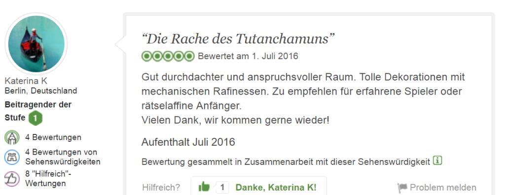 Tripadvisor Bewertung Escape Game Tutanchamun: Die Rache der Mumie!