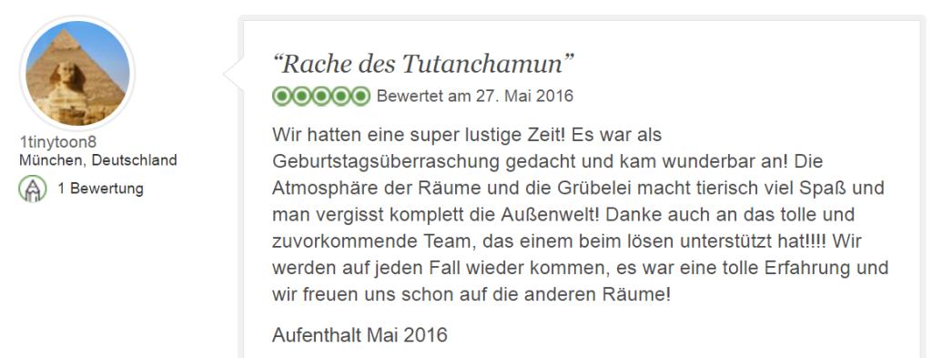 Tripadvisor Bewertung Escape Game Spielspaß mit Tutanchamun